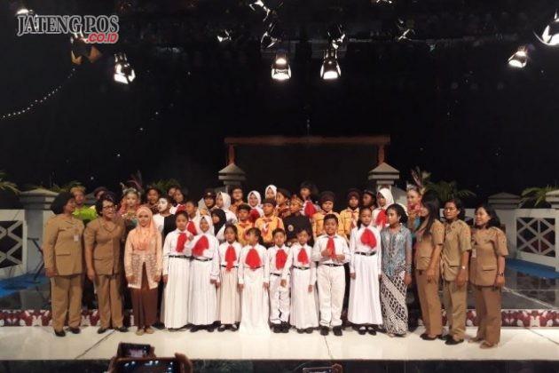 TAMPIL TVRI: Siswa -siswi SDN Bugangan 03 menampilkan kebolehannya di TVRI Jawa Tengah.Salam PPK.