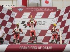 PODIUM : Mario Suryo Aji berhasil mempersembahkan podium kedua bagi Indonesia sekaligus mengibarkan bendera Merah Putih untuk pertama kalinya dalam balap pertama Asia Talent Cup 2018 (17/3).