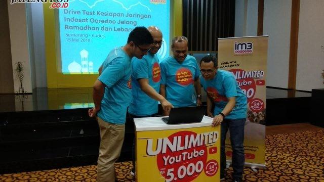 INDOSAT : Jajaran manajemen Indosat disela kesiapan jaringannya dalam menghadapi Ramadhan, Mudik, dan Lebaran mendatang. alkomari/Jateng Pos