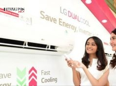 Beberapa produk baru AC LG Dual Cool Series dikenalkan oleh seorang model. dok/Jateng Pos