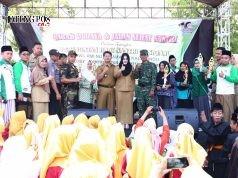 upati Mirna Annisa berkesempatan menghadiri peringatan HSN 2018 di Alun-alun Kaliwungu disambut meriah para santri dalam sebauh acara pawai Budaya dan Jalan Sehat Santri