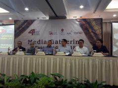 Direksi BEI-OJK-KSEI-KPEI saat memberikan keterangan kepada wartawan dalam sesi sharing Media Gathering Pasar Modal.