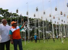 """KOMPETISI : Ratusan perkutut tengah mengikuti lomba kicau burung bergengsi P3SI """" Walikota Semarang Cup 2018 """". Foto : DWI SAMBODO/JATENG POS."""