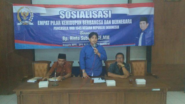 Rinto Subekti menggelar Sosialisasi empat pilar di desa pulutan wetan Kecamatan Wuryantoro Kabupaten Wonogiri.