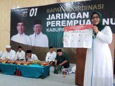 DUKUNG JOKOWI : Ida Nur Saadah mengharapkan dapat mendulang suara dari jamaah muslimat dan Fatayat NU di Demak untuk mendukung pasangan Jokowi Amin.