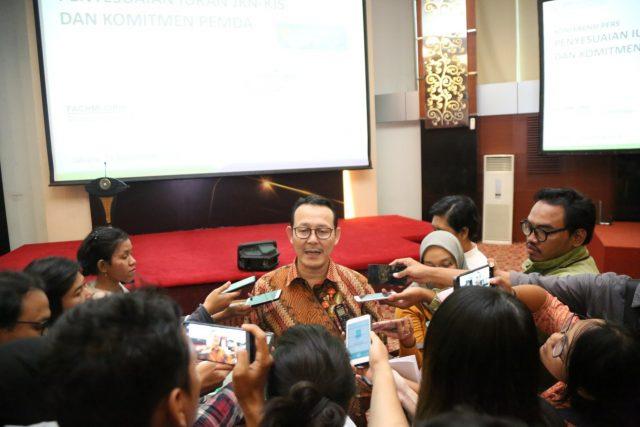 IURAN JKN-KIS- Direktur Utama BPJS Kesehatan, Fahcmi Idris, saat memberikan keterangan pers kepada wartawan di Jakarta terkait iuran JKN-KIS. FOTO : IST/ANING KARINDRA/JATENG POS