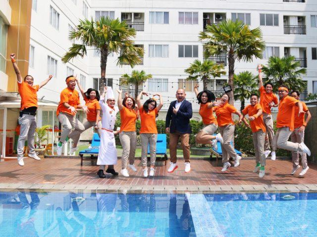 KOMPAK: Tim HARRIS Hotel Sentraland Semarang kompak bersemangat siap memberikan pelayanan maksimal kepada pelanggan dan tamu yang berkunjung.